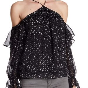 NWT 1 State Cold Shoulder Ruffle Blouse Stars SZ M